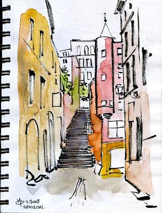 Aquerelle rue de la Loge